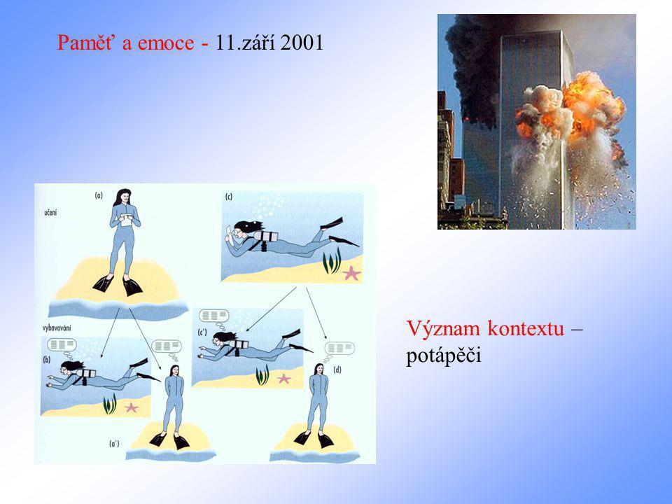 Paměť a emoce - 11.září 2001 Význam kontextu – potápěči