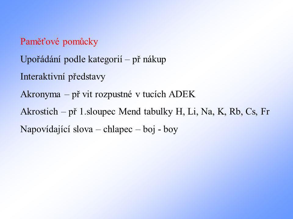 Paměťové pomůcky Upořádání podle kategorií – př nákup Interaktivní představy Akronyma – př vit rozpustné v tucích ADEK Akrostich – př 1.sloupec Mend tabulky H, Li, Na, K, Rb, Cs, Fr Napovídající slova – chlapec – boj - boy