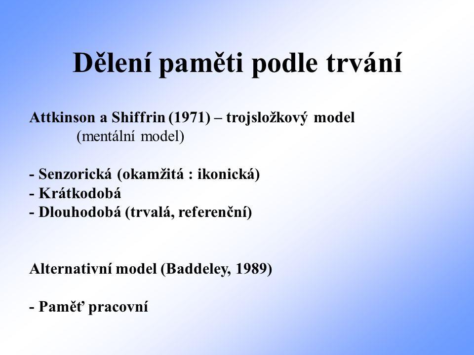 Dělení paměti podle trvání Attkinson a Shiffrin (1971) – trojsložkový model (mentální model) - Senzorická (okamžitá : ikonická) - Krátkodobá - Dlouhod