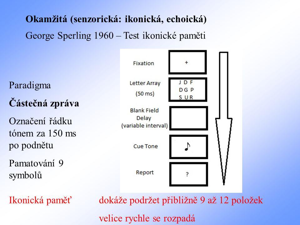 Okamžitá (senzorická: ikonická, echoická) George Sperling 1960 – Test ikonické paměti Paradigma Částečná zpráva Označení řádku tónem za 150 ms po podn