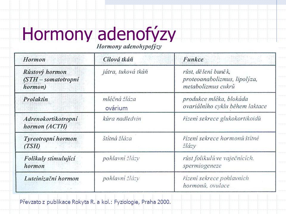 Hormony adenofýzy Převzato z publikace Rokyta R. a kol.: Fyziologie, Praha 2000. ovárium