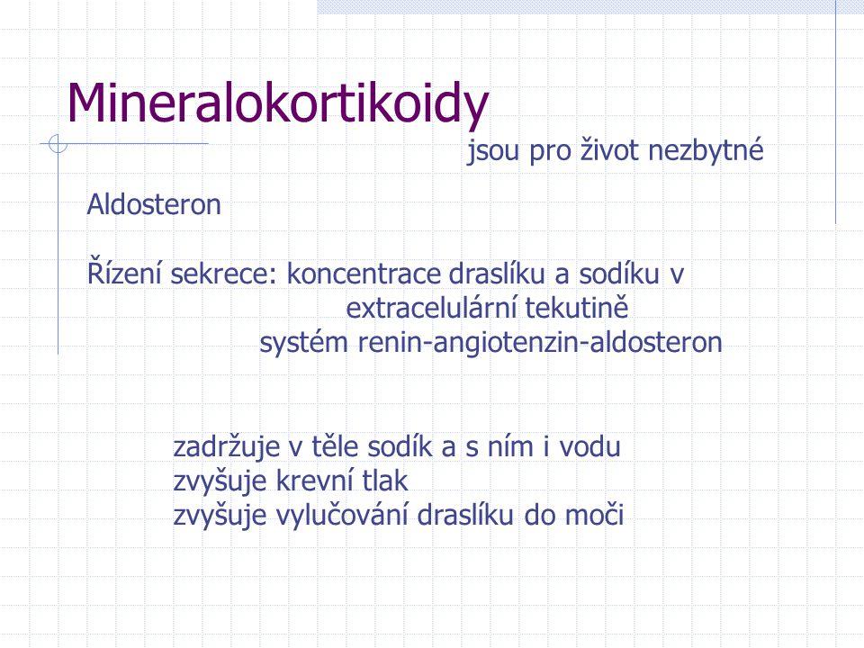 Mineralokortikoidy Aldosteron Řízení sekrece: koncentrace draslíku a sodíku v extracelulární tekutině systém renin-angiotenzin-aldosteron zadržuje v těle sodík a s ním i vodu zvyšuje krevní tlak zvyšuje vylučování draslíku do moči jsou pro život nezbytné