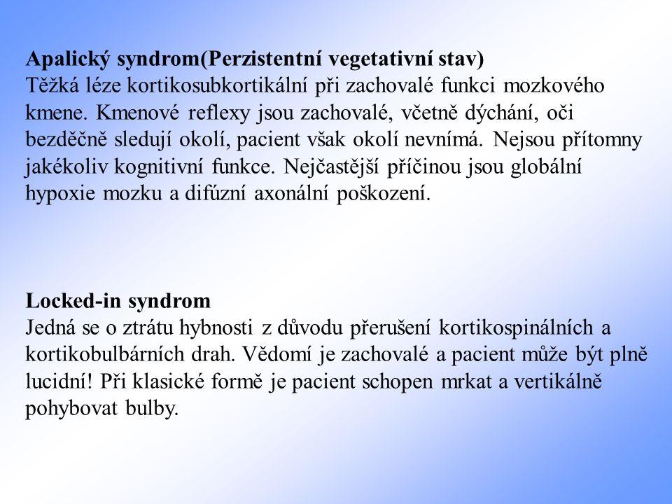 Apalický syndrom(Perzistentní vegetativní stav) Těžká léze kortikosubkortikální při zachovalé funkci mozkového kmene. Kmenové reflexy jsou zachovalé,