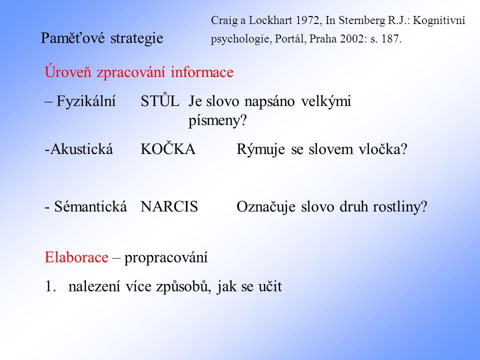 Paměťové strategie Úroveň zpracování informace – Fyzikální STŮL Je slovo napsáno velkými písmeny.