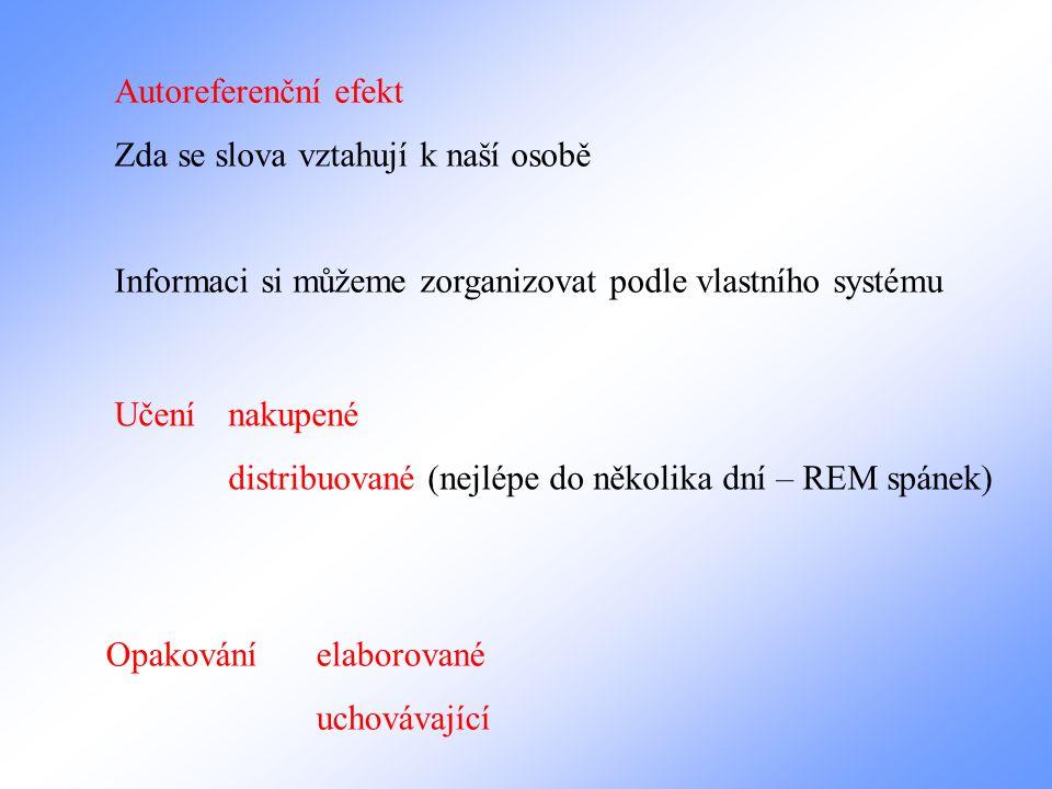 Autoreferenční efekt Zda se slova vztahují k naší osobě Informaci si můžeme zorganizovat podle vlastního systému Učení nakupené distribuované (nejlépe