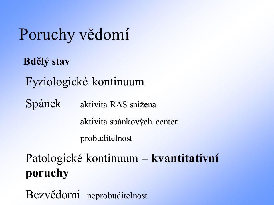 Poruchy vědomí Bdělý stav Fyziologické kontinuum Spánek aktivita RAS snížena aktivita spánkových center probuditelnost Patologické kontinuum – kvantit