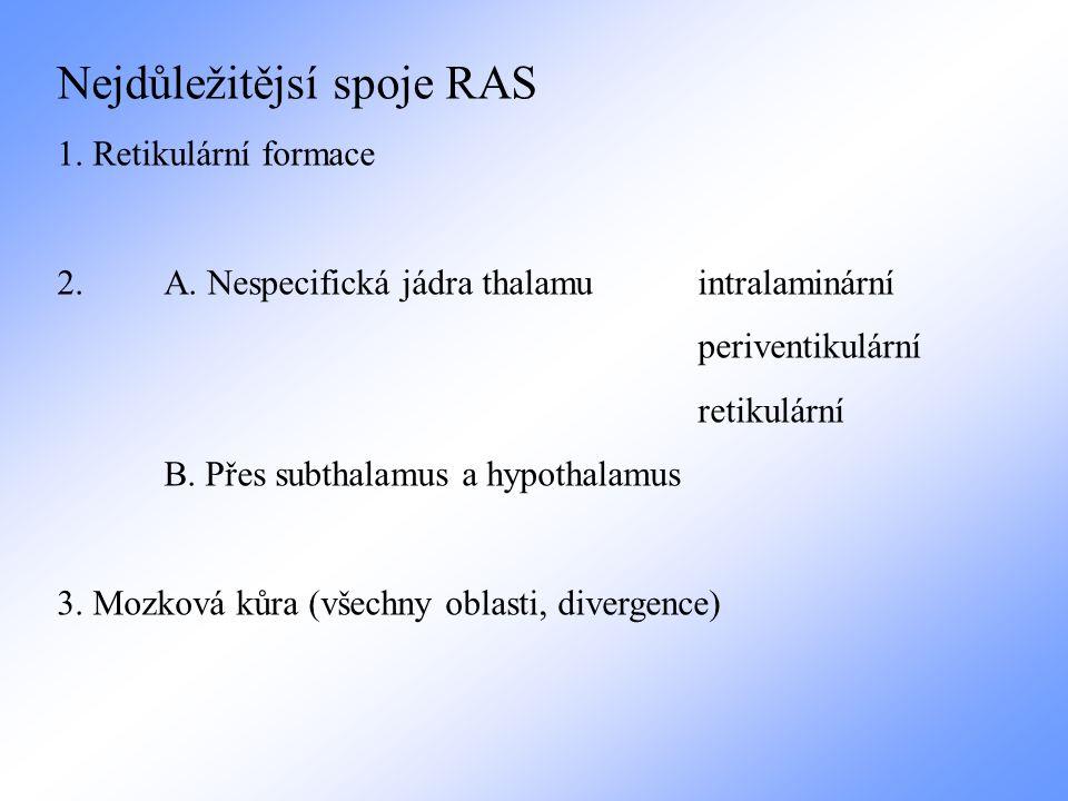 Probouzecí reakce (arousal reaction) 1.Senzorický signál – všechna senzorická vlákna kolaterály do RF a zde aktivují RAS 2.Limbický systém – pohotovost při emocích