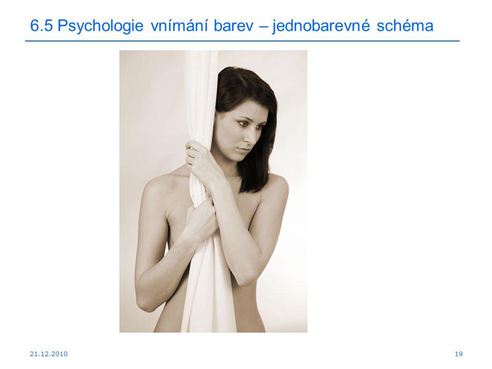 21.12.2010 6.5 Psychologie vnímání barev – jednobarevné schéma 19