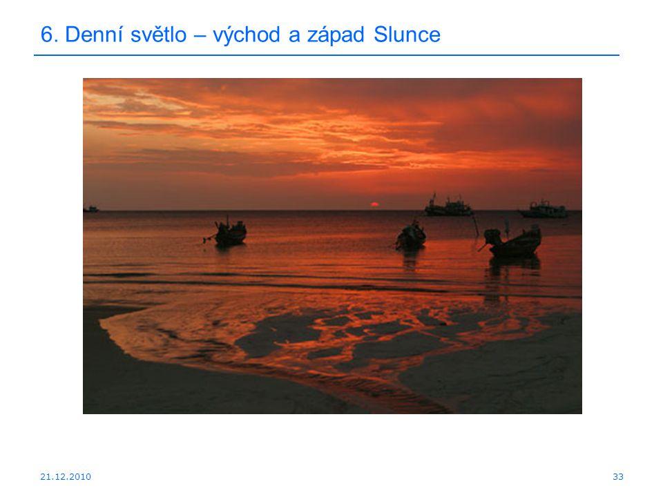 21.12.2010 6. Denní světlo – východ a západ Slunce 33