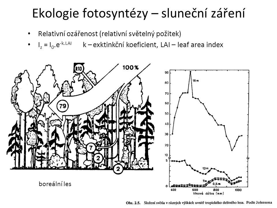 Relativní ozářenost (relativní světelný požitek) I z = I 0.e -k.LAI k – exktinkční koeficient, LAI – leaf area index Ekologie fotosyntézy – sluneční z
