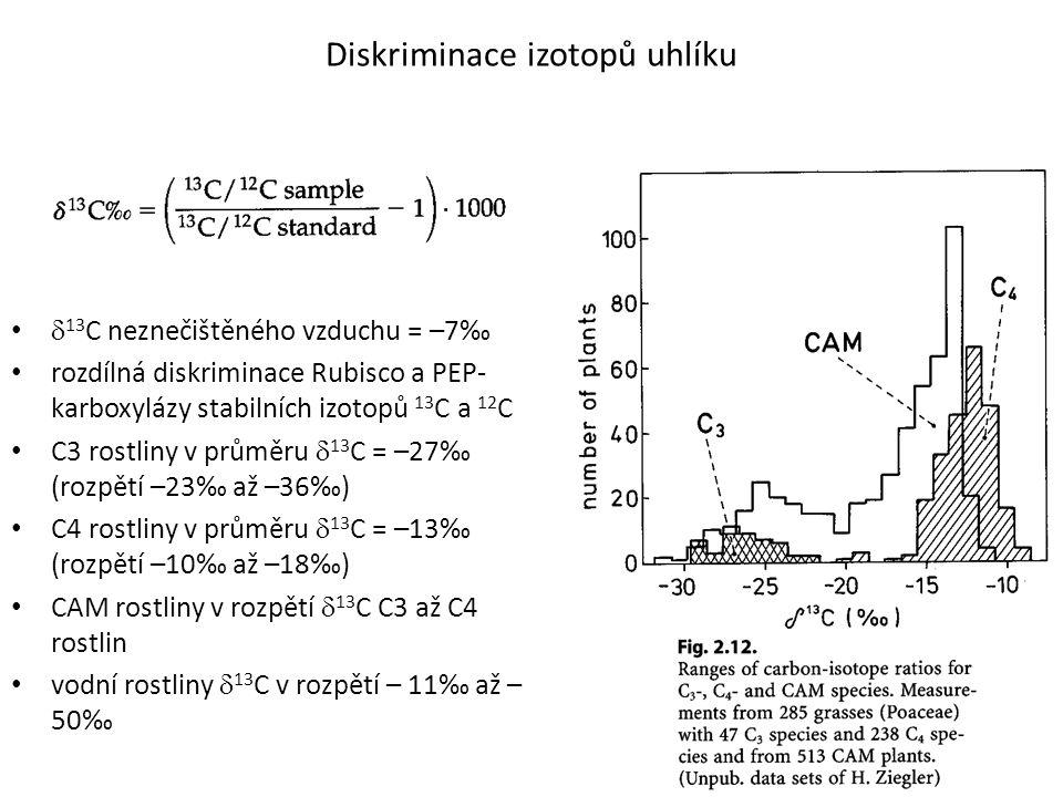 Diskriminace izotopů uhlíku  13 C neznečištěného vzduchu = –7‰ rozdílná diskriminace Rubisco a PEP- karboxylázy stabilních izotopů 13 C a 12 C C3 ros