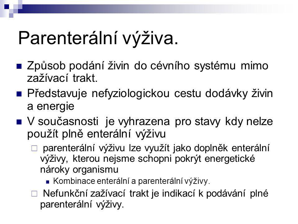 Parenterální výživa - indikace.