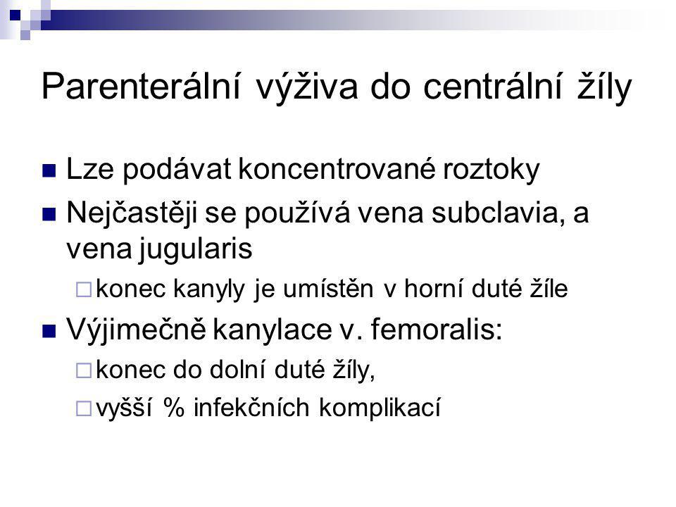 Centrální žilní vstupy pro parenterální výživu k zavádění se užívá Seldingerova metoda Kanyly z polyuretanu, silikonu Speciální kanyly potažené antibakteriální vrstvou (antibiotiky, stříbrem) Tunelizovaný katetr či venózní port (pro dlouhodobé podávání PV)