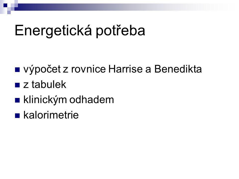 Energetická potřeba Rovnice Harrise a Benedikta: BMR= (66,47+13,75xM + 5xH - 6,75xR)x1,3 M-hmotnost H- výška R- roky