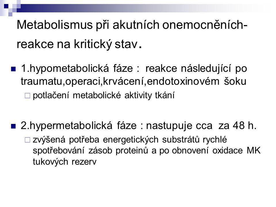 Metabolická reakce na kritický stav spotřeba 02   tělesná teplota   periferní resistence   srdeční MV   odpad N -  glykemie   glukoneogeneza    Hypometabolická hypermetabolická