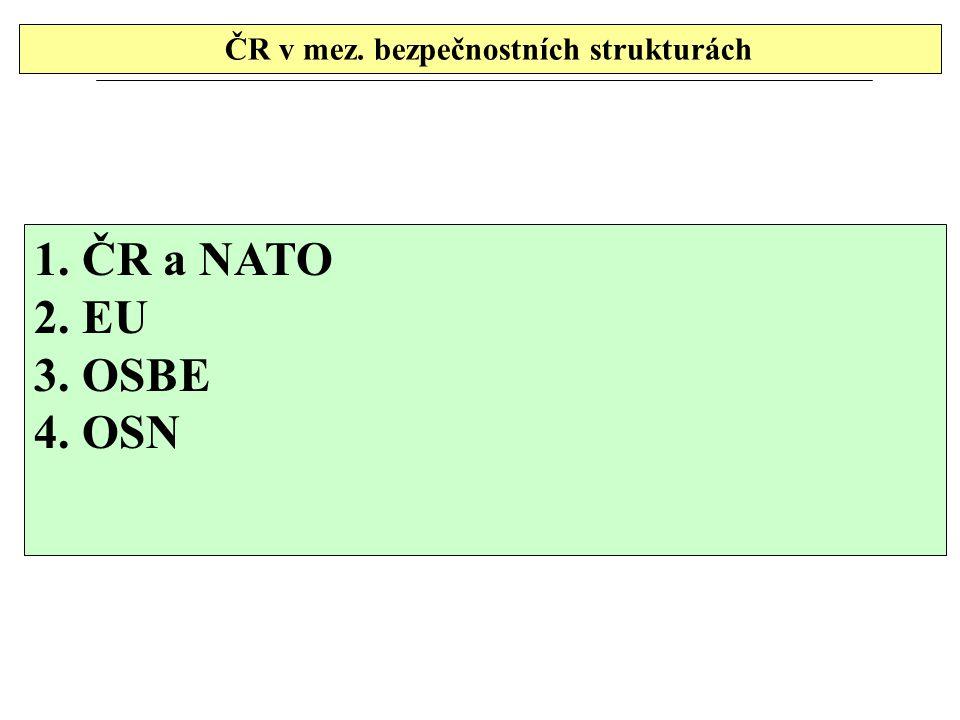 ČR v mez. bezpečnostních strukturách 1.ČR a NATO 2.EU 3.OSBE 4.OSN
