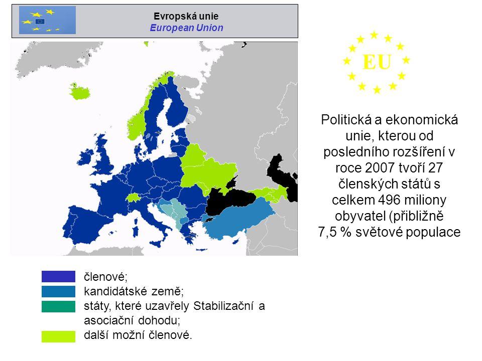 členové; kandidátské země; státy, které uzavřely Stabilizační a asociační dohodu; další možní členové. Politická a ekonomická unie, kterou od poslední