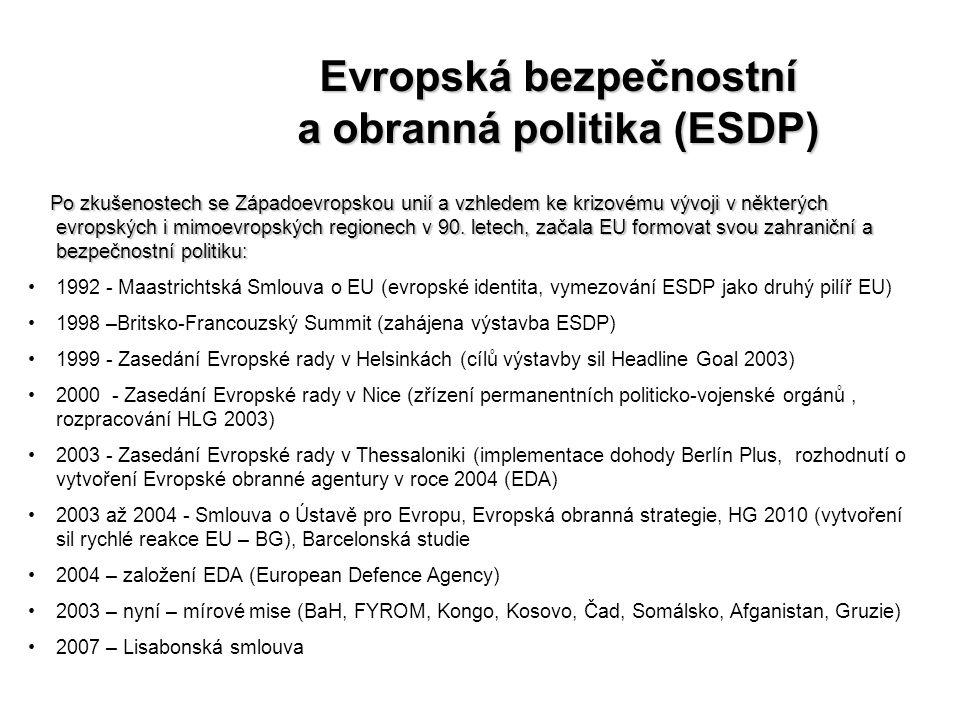 Evropská bezpečnostní a obranná politika (ESDP) Po zkušenostech se Západoevropskou unií a vzhledem ke krizovému vývoji v některých evropských i mimoev