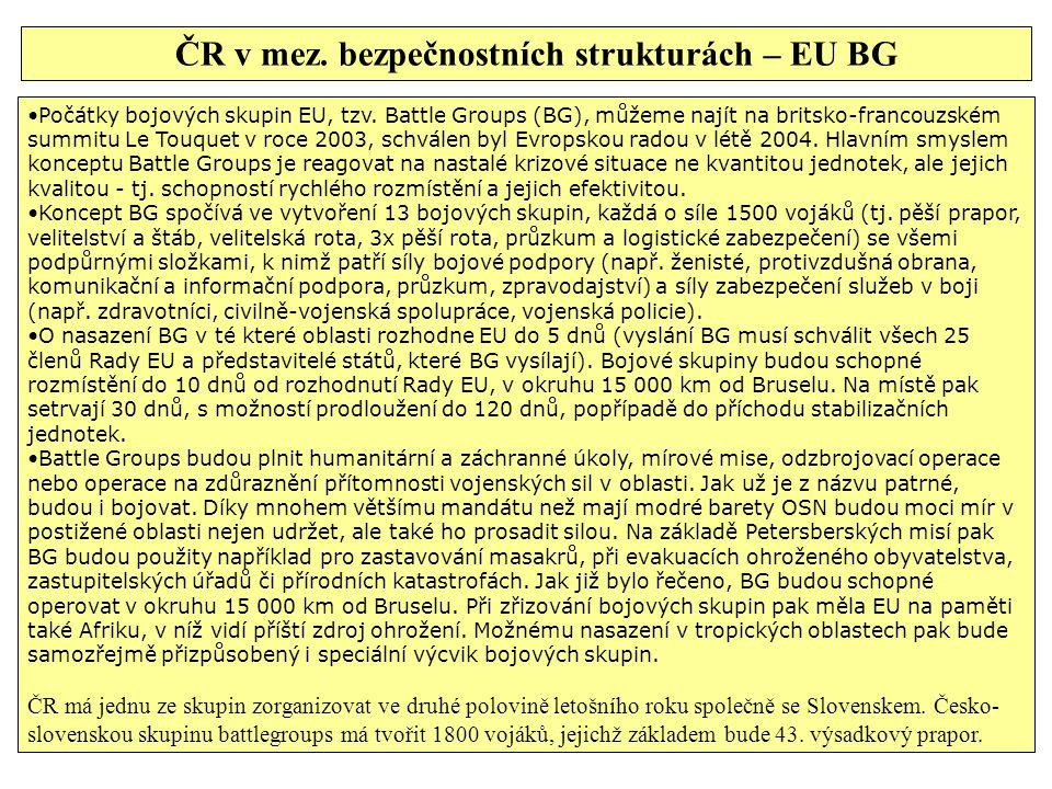Počátky bojových skupin EU, tzv. Battle Groups (BG), můžeme najít na britsko-francouzském summitu Le Touquet v roce 2003, schválen byl Evropskou radou