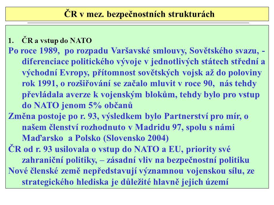 ČR v mez. bezpečnostních strukturách 1.ČR a vstup do NATO Po roce 1989, po rozpadu Varšavské smlouvy, Sovětského svazu, - diferenciace politického výv