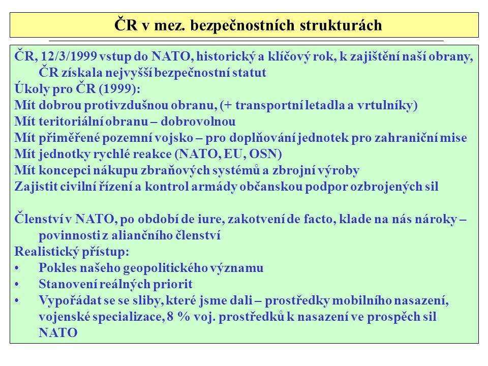 ČR v mez. bezpečnostních strukturách ČR, 12/3/1999 vstup do NATO, historický a klíčový rok, k zajištění naší obrany, ČR získala nejvyšší bezpečnostní
