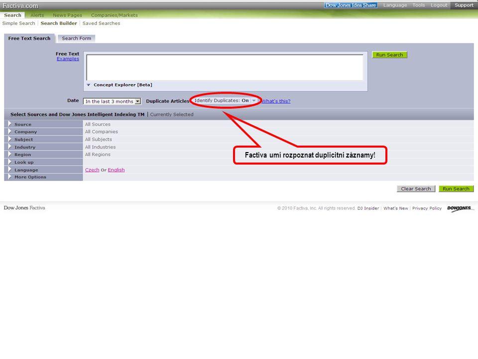 Factiva umí rozpoznat duplicitní záznamy!