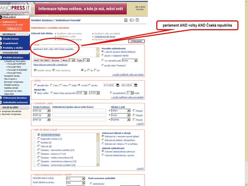 informace o výsledku hledání i zadávaných parametrech Zde je možno výsledek setřídit dle požadovaných kritérií.