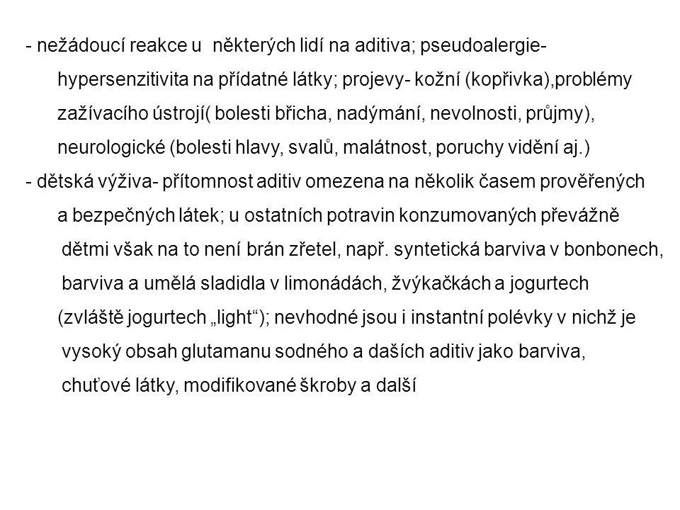- nežádoucí reakce u některých lidí na aditiva; pseudoalergie- hypersenzitivita na přídatné látky; projevy- kožní (kopřivka),problémy zažívacího ústro