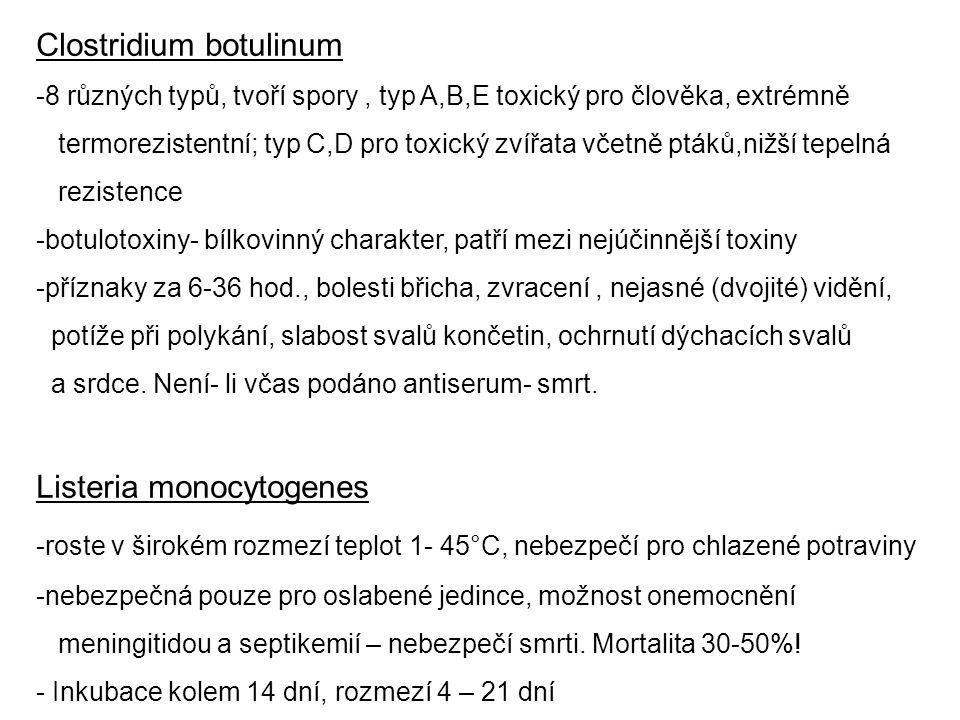 Clostridium botulinum -8 různých typů, tvoří spory, typ A,B,E toxický pro člověka, extrémně termorezistentní; typ C,D pro toxický zvířata včetně ptáků