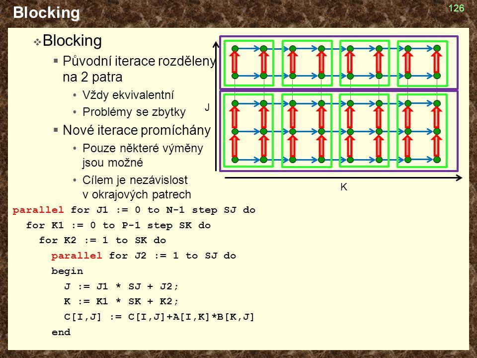 Blocking  Blocking  Původní iterace rozděleny na 2 patra Vždy ekvivalentní Problémy se zbytky  Nové iterace promíchány Pouze některé výměny jsou mo
