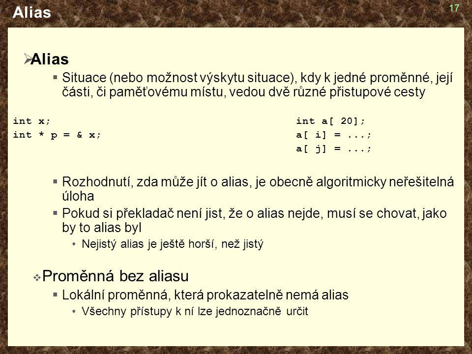 17 Alias  Alias  Situace (nebo možnost výskytu situace), kdy k jedné proměnné, její části, či paměťovému místu, vedou dvě různé přistupové cesty int