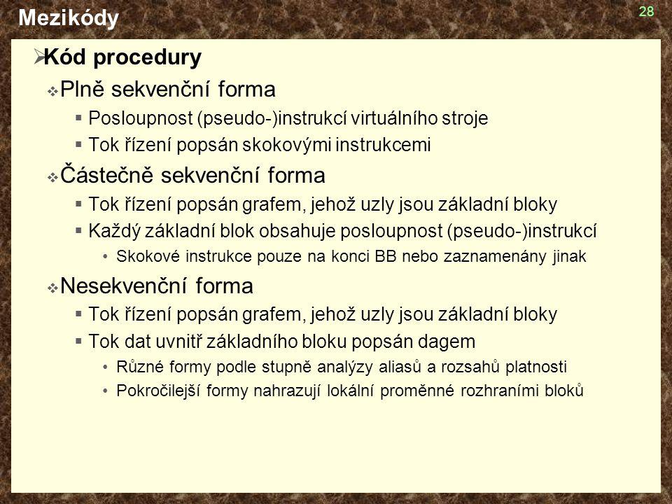 28 Mezikódy  Kód procedury  Plně sekvenční forma  Posloupnost (pseudo-)instrukcí virtuálního stroje  Tok řízení popsán skokovými instrukcemi  Čás