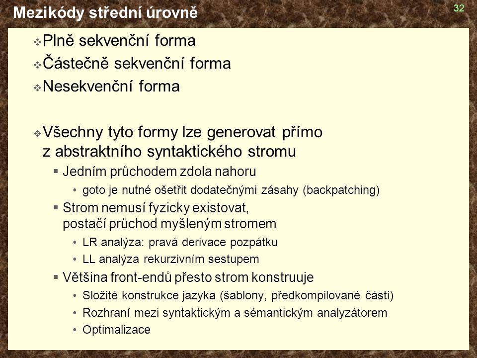 32 Mezikódy střední úrovně  Plně sekvenční forma  Částečně sekvenční forma  Nesekvenční forma  Všechny tyto formy lze generovat přímo z abstraktní