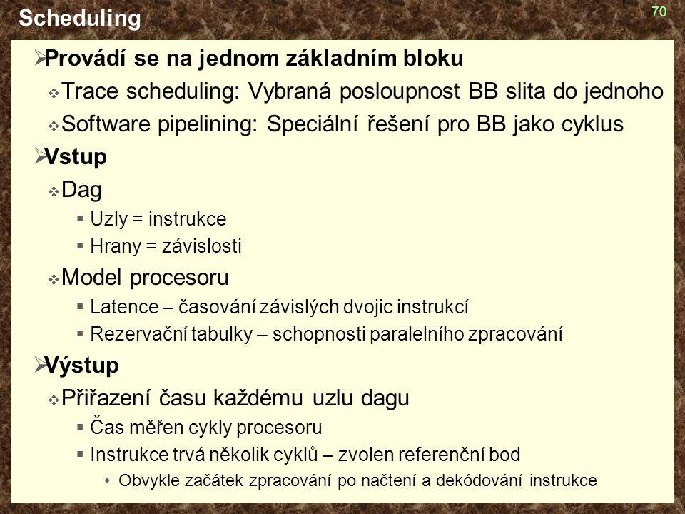 70 Scheduling  Provádí se na jednom základním bloku  Trace scheduling: Vybraná posloupnost BB slita do jednoho  Software pipelining: Speciální řeše