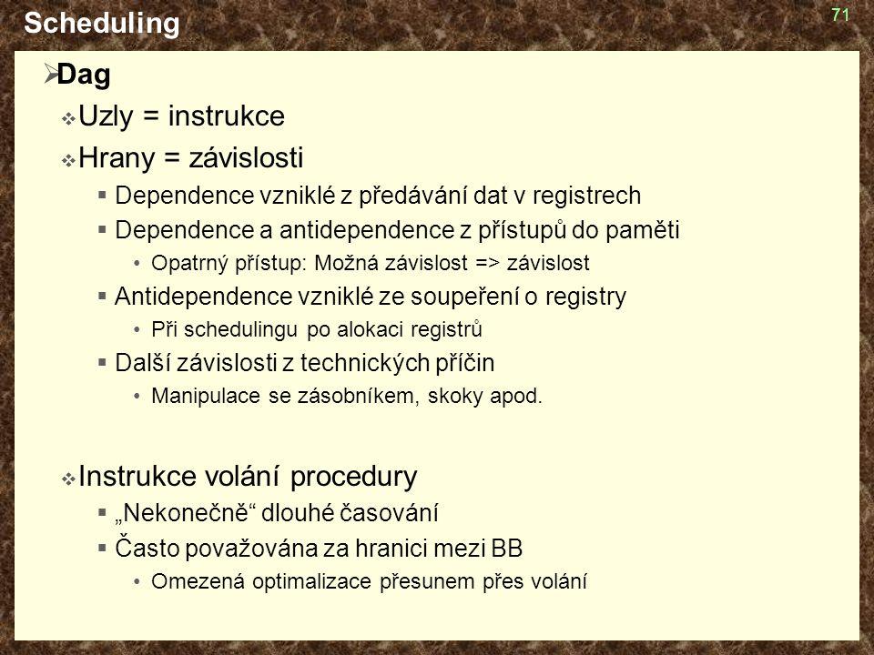 71 Scheduling  Dag  Uzly = instrukce  Hrany = závislosti  Dependence vzniklé z předávání dat v registrech  Dependence a antidependence z přístupů