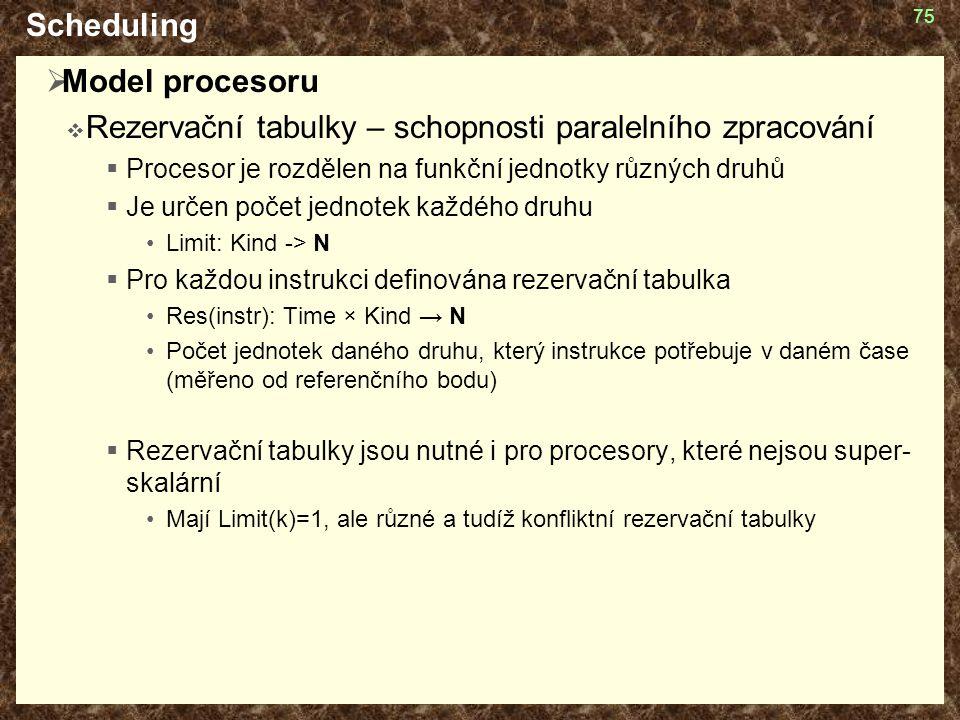 75 Scheduling  Model procesoru  Rezervační tabulky – schopnosti paralelního zpracování  Procesor je rozdělen na funkční jednotky různých druhů  Je