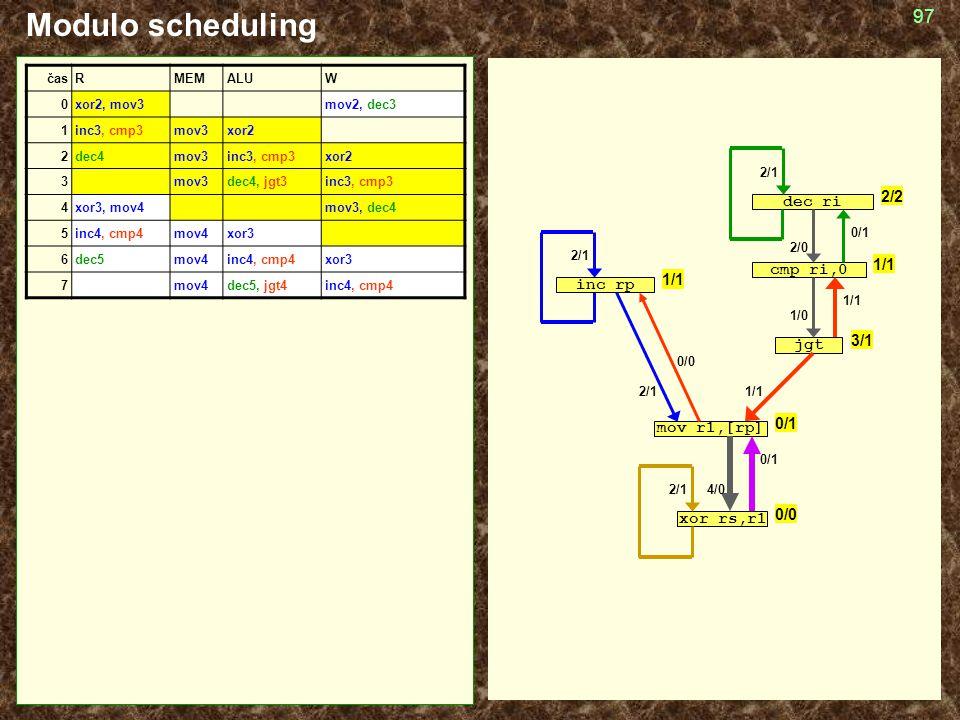 97 Modulo scheduling cmp ri,0 jgt mov r1,[rp] inc rp dec ri xor rs,r1 2/1 1/1 1/0 2/0 4/0 0/1 1/1 0/0 0/1 časRMEMALUW 0xor2, mov3mov2, dec3 1inc3, cmp