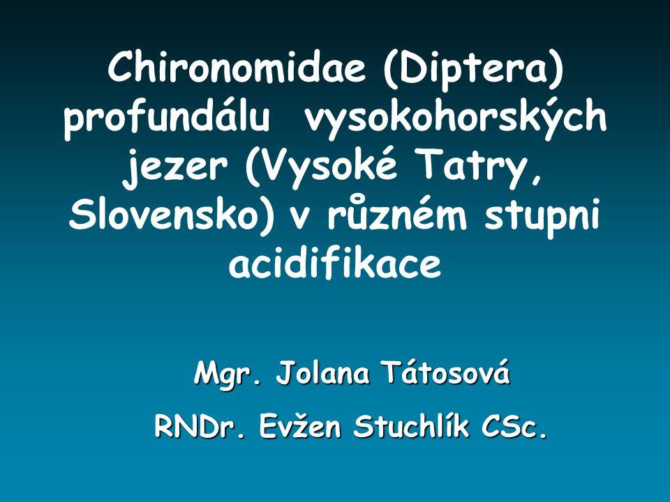 Chironomidae (Diptera) profundálu vysokohorských jezer (Vysoké Tatry, Slovensko) v různém stupni acidifikace Mgr. Jolana Tátosová RNDr. Evžen Stuchlík