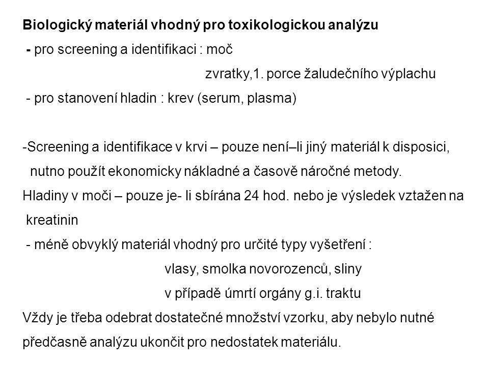 Biologický materiál vhodný pro toxikologickou analýzu - pro screening a identifikaci : moč zvratky,1. porce žaludečního výplachu - pro stanovení hladi