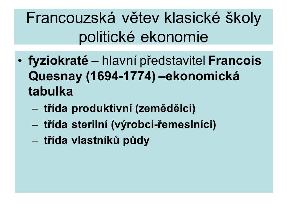 Francouzská větev klasické školy politické ekonomie fyziokraté – hlavní představitel Francois Quesnay (1694-1774) –ekonomická tabulka – třída produktivní (zemědělci) – třída sterilní (výrobci-řemeslníci) – třída vlastníků půdy