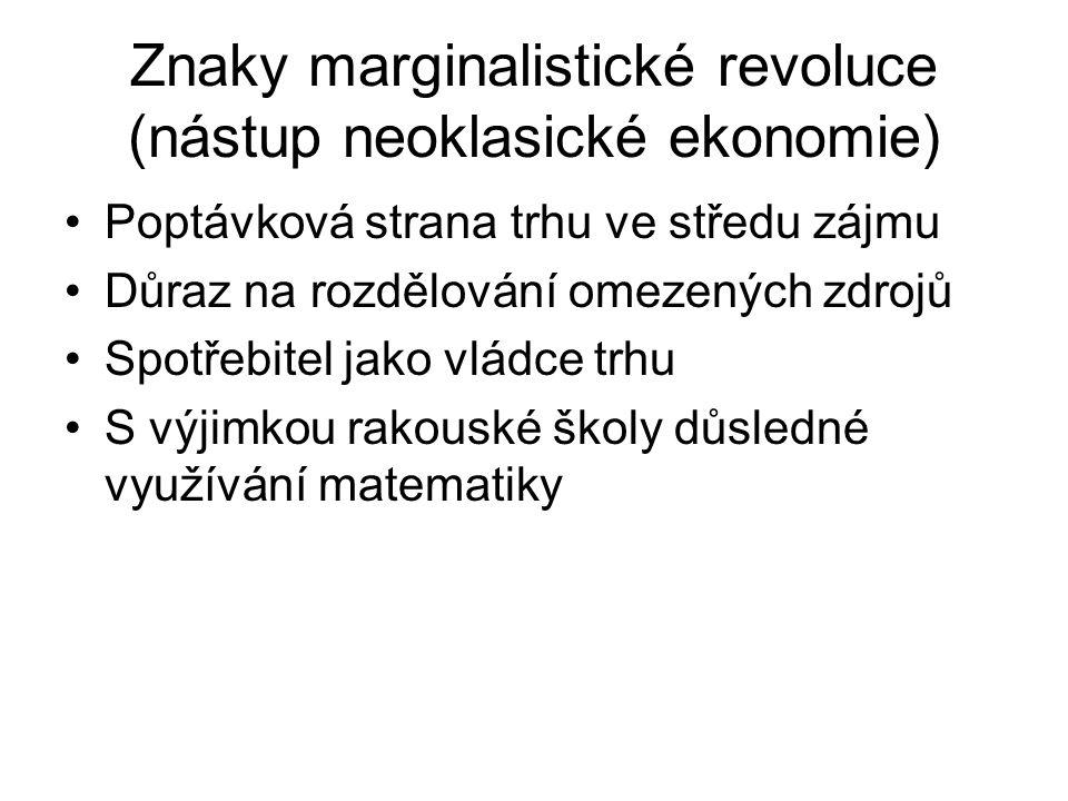 Znaky marginalistické revoluce (nástup neoklasické ekonomie) Poptávková strana trhu ve středu zájmu Důraz na rozdělování omezených zdrojů Spotřebitel jako vládce trhu S výjimkou rakouské školy důsledné využívání matematiky