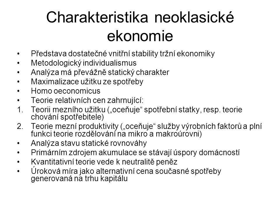 """Charakteristika neoklasické ekonomie Představa dostatečné vnitřní stability tržní ekonomiky Metodologický individualismus Analýza má převážně statický charakter Maximalizace užitku ze spotřeby Homo oeconomicus Teorie relativních cen zahrnující: 1.Teorii mezního užitku (""""oceňuje spotřební statky, resp."""