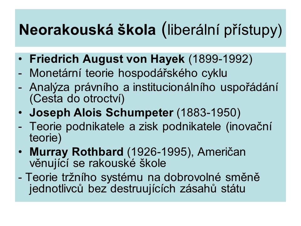 Neorakouská škola ( liberální přístupy) Friedrich August von Hayek (1899-1992) -Monetární teorie hospodářského cyklu -Analýza právního a institucionálního uspořádání (Cesta do otroctví) Joseph Alois Schumpeter (1883-1950) -Teorie podnikatele a zisk podnikatele (inovační teorie) Murray Rothbard (1926-1995), Američan věnující se rakouské škole - Teorie tržního systému na dobrovolné směně jednotlivců bez destruujících zásahů státu
