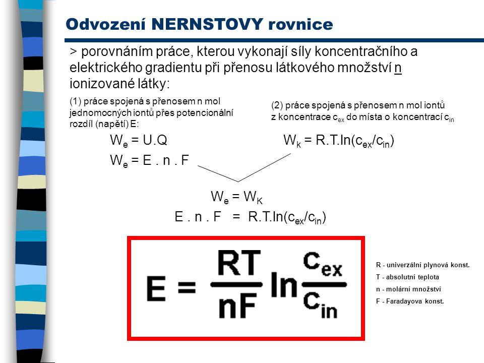 Odvození NERNSTOVY rovnice > porovnáním práce, kterou vykonají síly koncentračního a elektrického gradientu při přenosu látkového množství n ionizovan