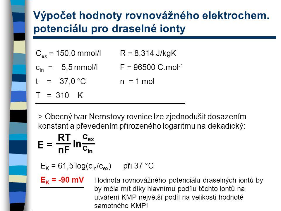 Výpočet hodnoty rovnovážného elektrochem. potenciálu pro draselné ionty C ex = 150,0 mmol/lR = 8,314 J/kgK c in = 5,5 mmol/lF = 96500 C.mol -1 t = 37,