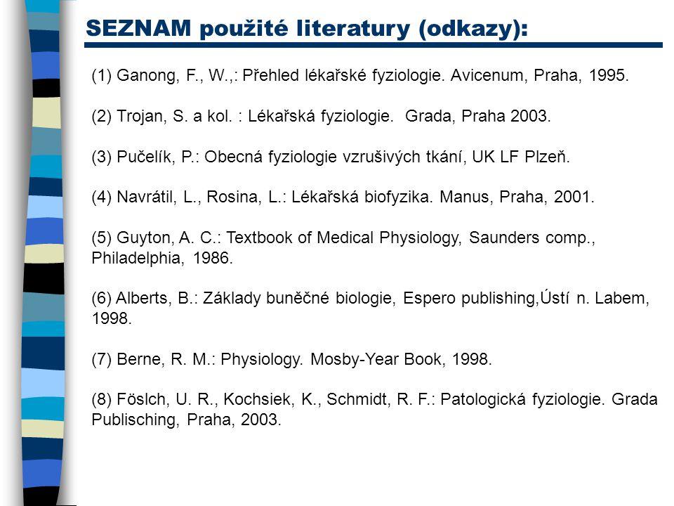 (1) Ganong, F., W.,: Přehled lékařské fyziologie. Avicenum, Praha, 1995. (2) Trojan, S. a kol. : Lékařská fyziologie. Grada, Praha 2003. (3) Pučelík,