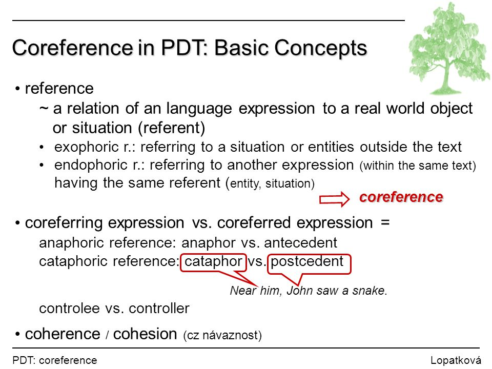 PDT: coreference Lopatková Coreference in the Tectogrammatical Tree coreference ~ a link between a t-node to another t-node(s) within a single sentence crossing a sentence boundary coreferring node: the ID of the coreferred node (leaf / root of a subtree) Vlasta šla do divadla, kde na ni čekal Marek.