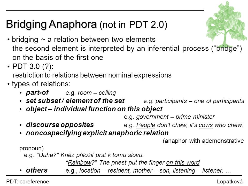 PDT: coreference Lopatková Bridging Anaphora Bridging Anaphora (not in PDT 2.0) bridging ~ a relation between two elements the second element is interpreted by an inferential process ( bridge ) on the basis of the first one PDT 3.0 (?): restriction to relations between nominal expressions types of relations: part-of e.g.