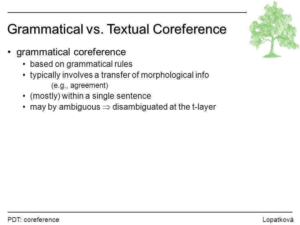 PDT: coreference Lopatková Grammatical vs.