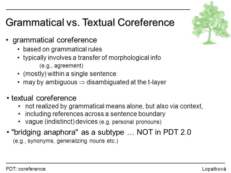 PDT: coreference Lopatková Textual Coreference Dobiaš skoro všechno dělá s námi, jeho pověstná impulzivnost se přenáší i na nás, a to je dobře.